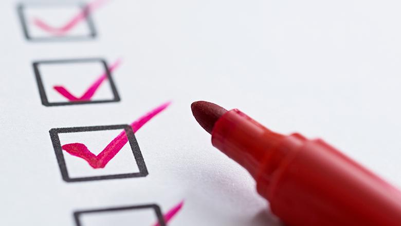 checklist with marker